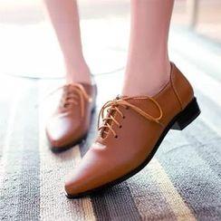 幸福鞋坊 - 尖頭繫帶鞋