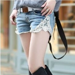 Nassyi - Lace Panel Distressed Denim Shorts