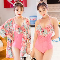Sweet Splash - Set: Floral Frilled Swimsuit + Cover