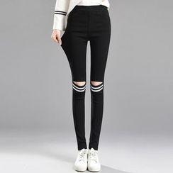 Cottony - Cutout Striped Skinny Pants