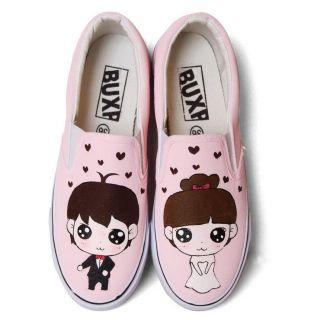 HVBAO - Painted Couple Canvas Slip-Ons