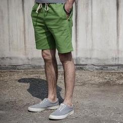 YIDESIMPLE - Drawstring-Waist Linen Shorts