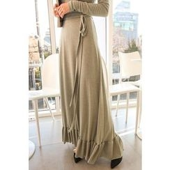 PPGIRL - Tie-Waist Frilled-Hem Long Skirt