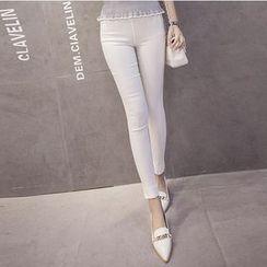 Denimot - Elastic Waist Skinny Pants