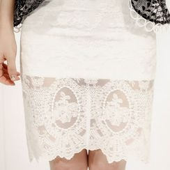 Marlangrouge - Lace Overlay Pencil Skirt