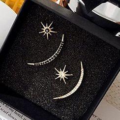 True Glam - 水鑽星星不對稱耳環