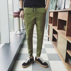 Besto - Plain Slim-Fit Pants