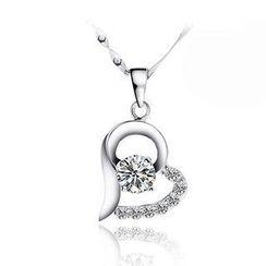 BELEC - 白金電鍍925純銀心形吊墜配白色鋯石及45cm項鏈