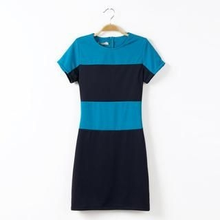 Flower Idea - Short-Sleeve Color-Block Dress