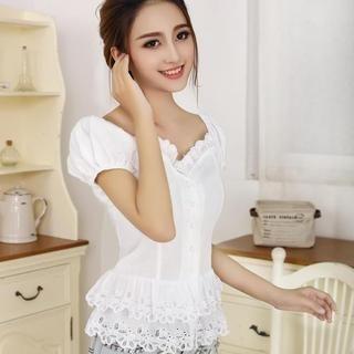 JVL - Puff-Sleeve Lace-Trim Layered Blouse