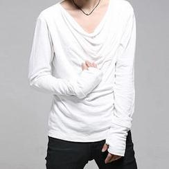JVR - Long-Sleeve Drape-Front T-Shirt