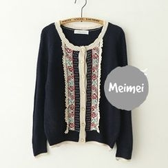 Meimei - Lace Trim Cardigan