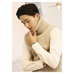 HOTBOOM - Wool Blend Turtleneck Sleeveless Knit Top