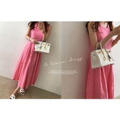 DAILY LOOK - Sleeveless Linen A-Line Dress
