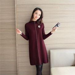 Aigan - Brooch-Accent Sweater Dress