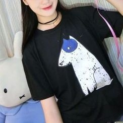 Cerauno - Dog Print Short Sleeve T-Shirt