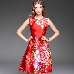 Ozipan - Sleeveless Printed A-Line Dress