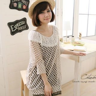 CatWorld - Lace-Neckline Open-Knit Top