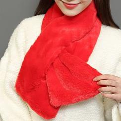 Kalamate - 纯色抓毛领孔围巾