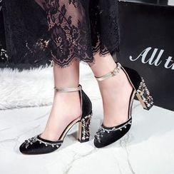 錦洋鞋業 - 水鑽粗跟涼鞋