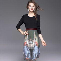 欧依潮派 - 七分袖印花拼接连衣裙