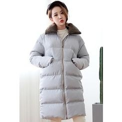 Dalkong - Fleece-Collar Zip-Up Thick Padded Coat