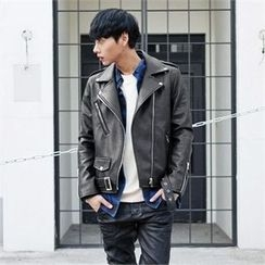 TOMONARI - Belted Faux-Leather Biker Jacket
