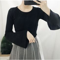 Bloombloom - Bell Sleeve Rib Knit Top