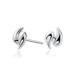 MBLife.com - Left Right Accessory - 925 Silver Swirl Design Polish Finished Stud Earrings, Women Girl Teens Fashion Jewellery