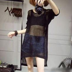 FR - Loose Knit Long Cover-Up Top