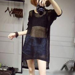 芙苪FR - 寬鬆針織長款罩衫上衣