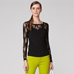 O.SA - Long-Sleeve Lace-Panel Top