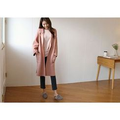 Hello sweety - Open-Front Dual Pocket Knit Coat