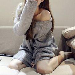 FR - Drop-shoulder Mohair Long Sweater