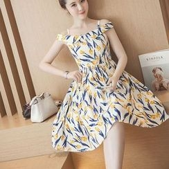 EFO - Off-Shoulder Printed A-Line Dress