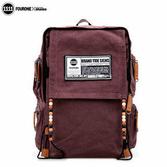 Fourone - Beaded Appliqué Flap Canvas Backpack