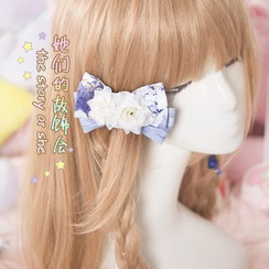 AOI - Flower-Accent Bow Hair Clip
