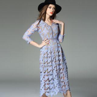 Y:Q - 3/4 Sleeve Crochet Lace Midi Dress