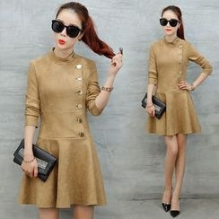 Ekim - Side Button Long Sleeve Dress