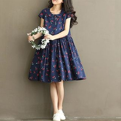 chome - Cherry Print Midi Collared Dress