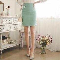 ode' - Faux-Pearl Trim Mini Skirt