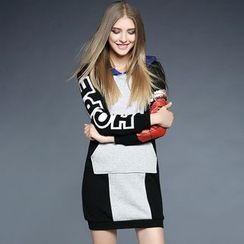 Cherry Dress - Color Block Printed Hooded Pullover Dress