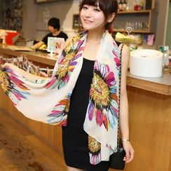 Cuteberry - Sunflower-Print Chiffon Scarf