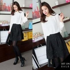 COCOAVENUE - Set: Lace-Collar Chiffon Top + Glittered A-Line Skirt