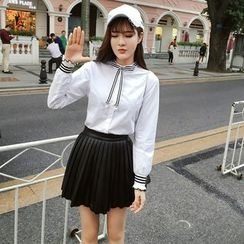 RUI - Faux Leather Pleated Skirt
