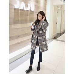 hellopeco - Double-Breasted Plaid Coat