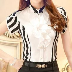 Caroe - Short-Sleeve Striped Ruffle Blouse