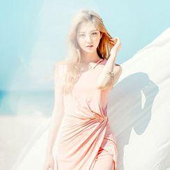 chuu - Inset Skirt Sleeveless Shirred Maxi Dress