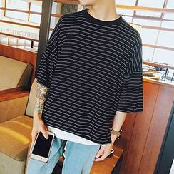 Streetstar - Stripe Oversized Crewneck T-Shirt