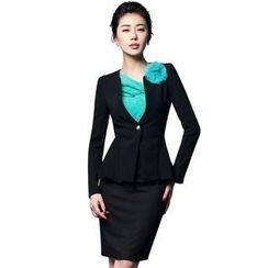 Aision - Set: Single-Button Blazer + Pencil-Cut Skirt
